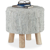 Tabouret gris rond 4 pieds en bois manguier assise en cuir véritable pouf repose-pieds HxD 41 x 41 cm, gris métallique
