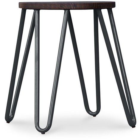 Tabouret Hairpin - 43cm - Bois foncé et métal Noir