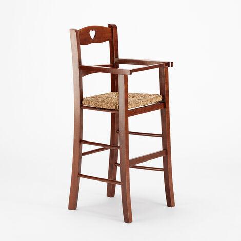 Tabouret haut avec assise en paille pour enfant chaise haute LOVE