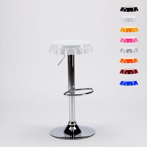 Tabouret haut bar et cuisine forme de capsule de bouteille design moderne DALLAS