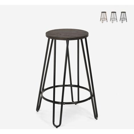 Tabouret haut design industriel en bois métal pour bars restaurants cuisines Carbon Top