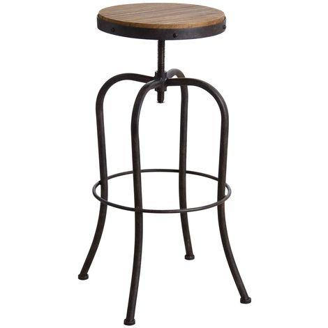 acheter populaire 48656 dff1a Tabouret haut pivotant en métal et bois