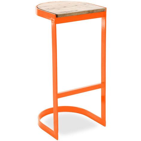 Tabouret industriel en métal et bois 77cm - Lia Orange