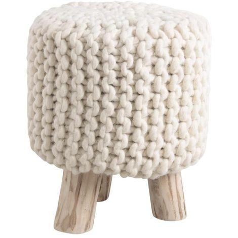Tabouret laine et bois Douceur - Blanc (assise)