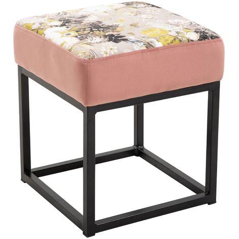 Tabouret MARBELLA pouf carré ottoman repose pieds bout de canapé cadre en métal et assise rembourrée velours cuivre rose avec fleurs