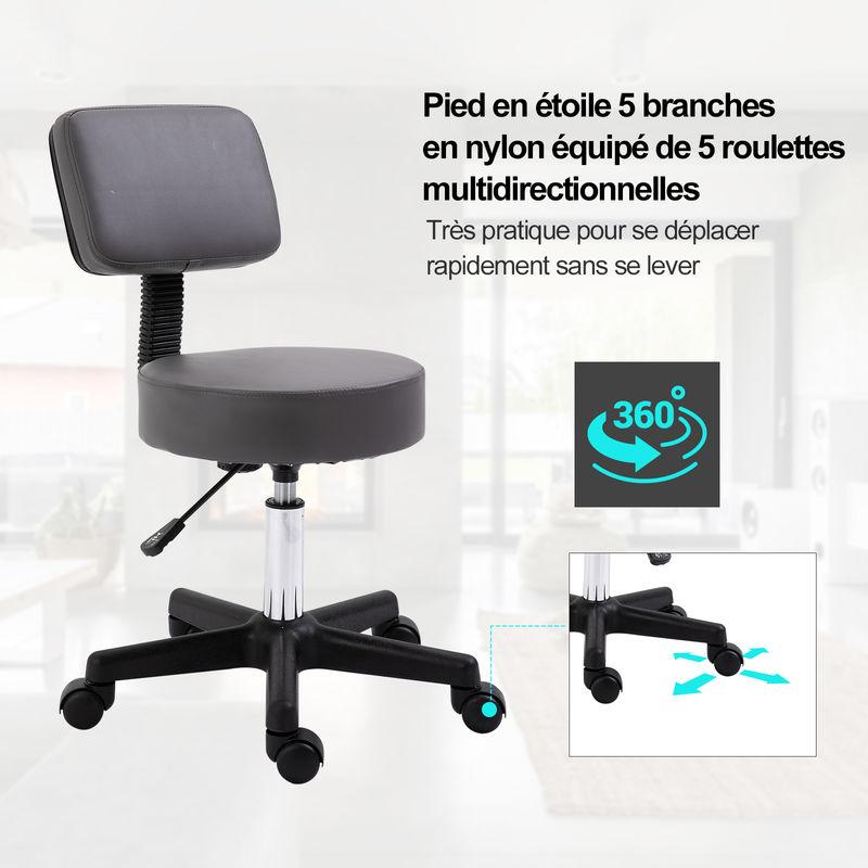 massage dossier pivotant gris à réglable ergonomique en roulettes Tabouret hauteur cTFJK1l3