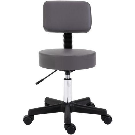 Tabouret massage à roulettes réglable en hauteur pivotant dossier ergonomique gris