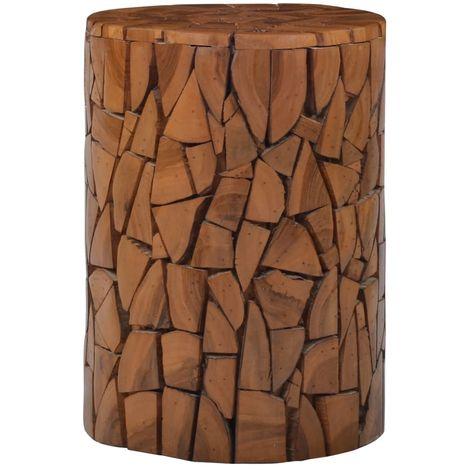 Tabouret Mosaique Marron 30 x 42 cm Bois de teck
