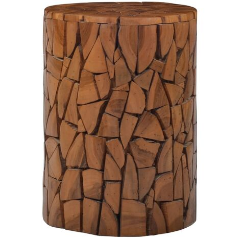Tabouret mosaïque Marron Bois de teck solide