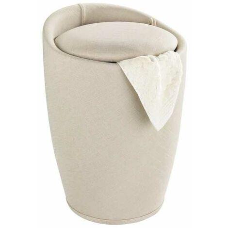 Tabouret panier à linge salle de bain, Candy beige aspect lin, Ø 36x50,5cm WENKO