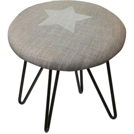 Tabouret pieds métal assise étoile