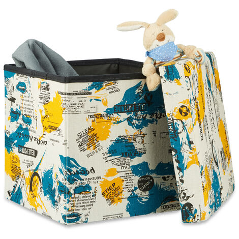 Tabouret pliable carré couvercle rangement coffre jouet enfant HxlxP 38 x 38 x 38 cm, blanc jaune pétrole