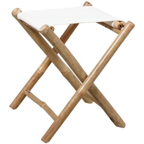 Tabouret pliant en bambou et assise coton