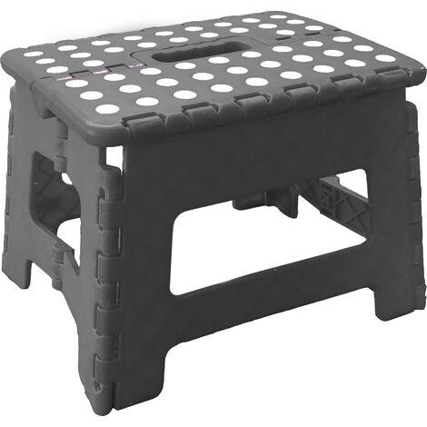 Tabouret Pliant, Marchepied Pliable, Facile d'utilisation Noir 22x22x29cm ..