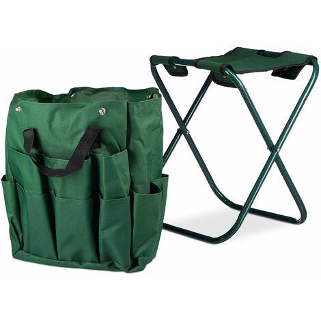 Tabouret porte-outils de jardinage 16 poches et compartiment intérieur pliable vert - Or