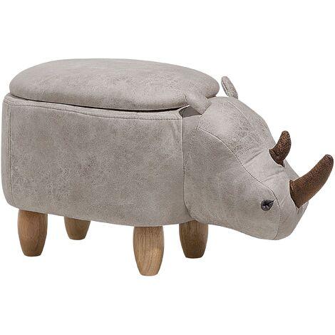 Tabouret - pouf animal rhinocéros en simili-cuir gris clair avec rangement
