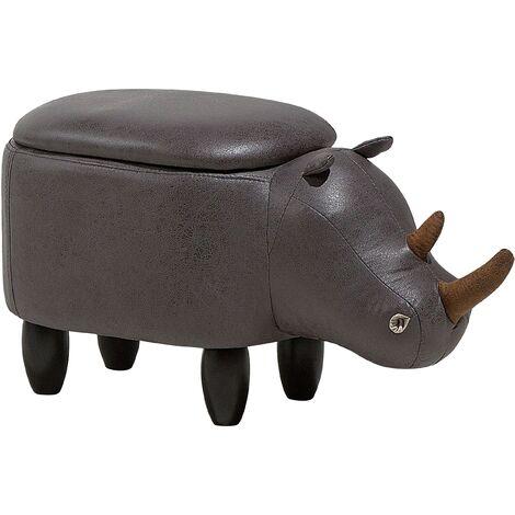 Tabouret - pouf animal rhinocéros en simili-cuir gris foncé avec rangement
