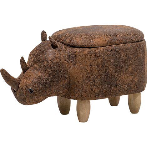 Tabouret - pouf animal rhinocéros en simili-cuir marron clair avec rangement