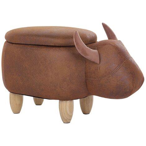 Tabouret - pouf animal vache en simili-cuir marron clair avec rangement