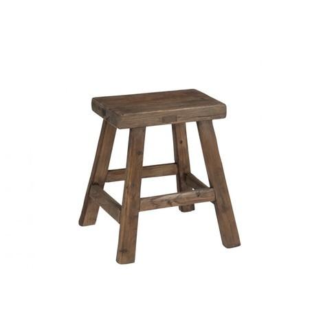 Tabouret rectangulaire en bois marron