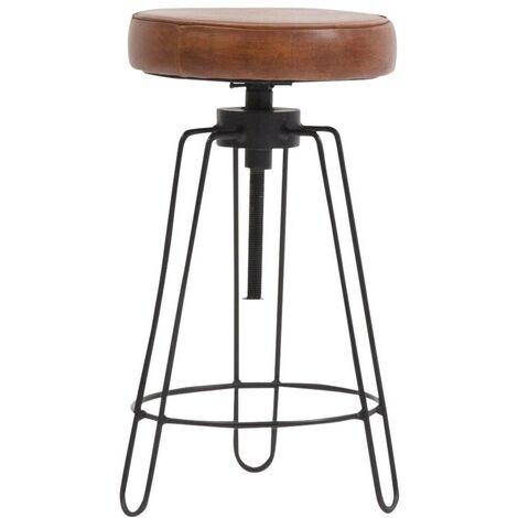 Tabouret réglable assise en cuir marron