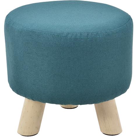 Tabouret rembourré turquoise avec pieds du bois
