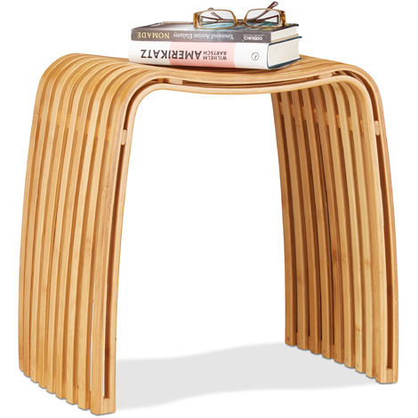 Tabouret repose-pieds bois de bambou lamelles élégant pouf scandinave nordique, nature