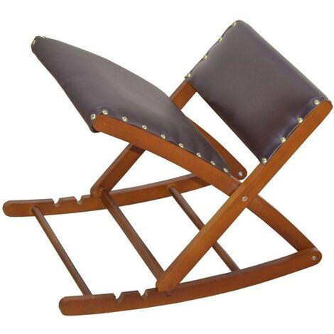 Tabouret / repose-pieds jambes balançoire pliable et réglable en bois massif - noir