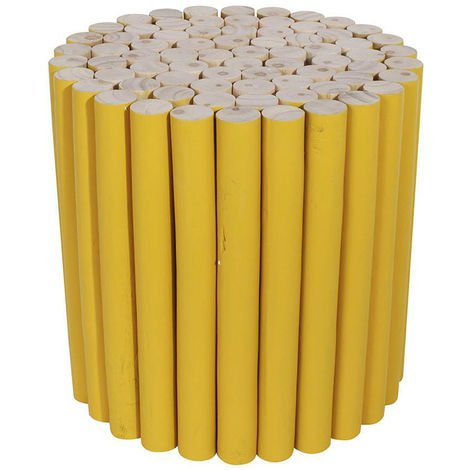 Tabouret rond en bois coloris jaune - Dim : L30 x H30 cm