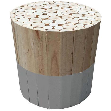 Tabouret rond en bois gris - 30x30x30 cm