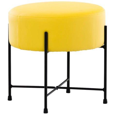 Tabouret rond / repose-pieds en simili-cuir jaune et métal noir
