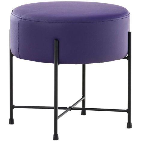 Tabouret rond / repose-pieds en simili-cuir violet et métal noir