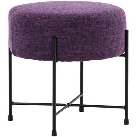 Tabouret rond / repose-pieds en tissu violet et métal noir