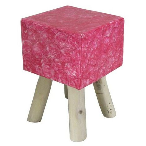 Tabouret rose carré - GOODY - Rose
