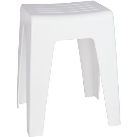 "main image of ""Tabouret salle de bain blanc, tabouret douche, Kumba blanc, H47cm"""