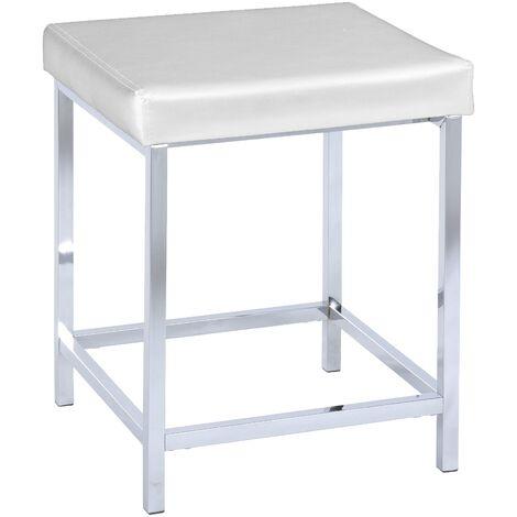 Tabouret salle de bain effet cuir, pied chromé, Deluxe blanc WENKO