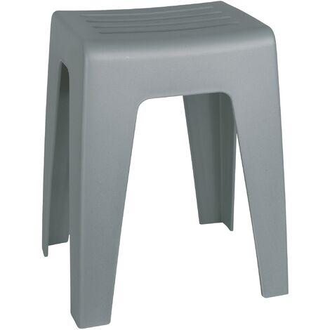 Tabouret Salle de bain Kumba gris, plastique, capacité 120kg
