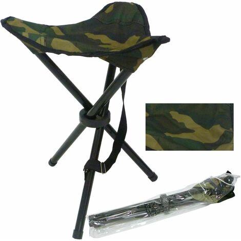 Tabouret, siege, chaise militaire pliante en metal pour la p