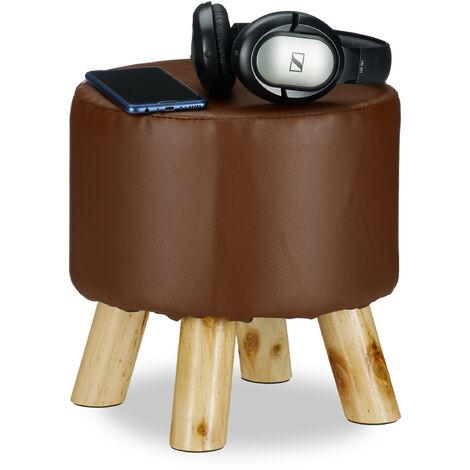 Tabouret similicuir 4 pieds bois pouf déco décoration rembourré rond assise HxD 30 x 31 cm, marron