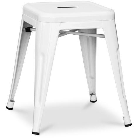 Tabouret Tolix 45cm Pauchard Style - Métal Blanc