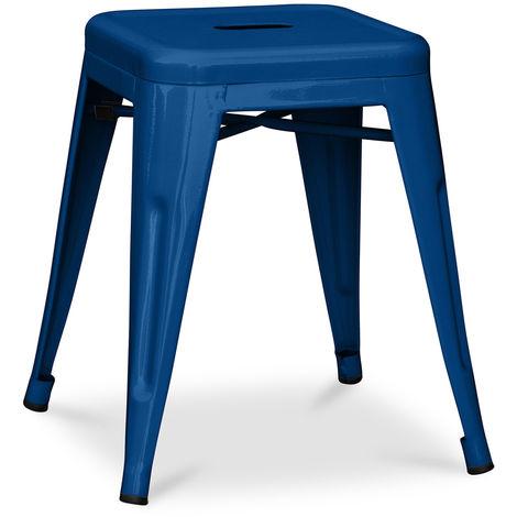 Tabouret Tolix 45cm Pauchard Style - Métal Bleu foncé