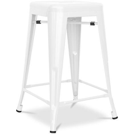 Tabouret Tolix 60cm Pauchard Style - Métal Mat Blanc