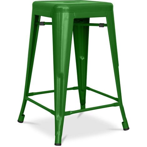 Tabouret Tolix 60cm Pauchard Style - Métal Mat Vert