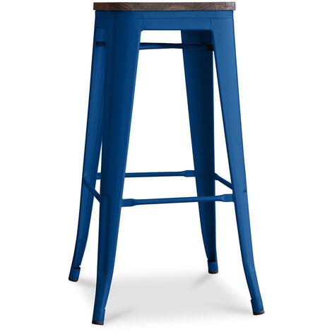 Tabouret Tolix en Bois 76cm Pauchard Style - Métal Bleu foncé