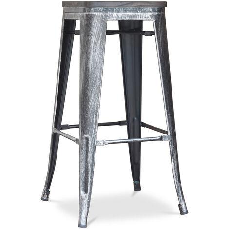 Tabouret Tolix en Bois 76cm Pauchard Style - Métal Industriel