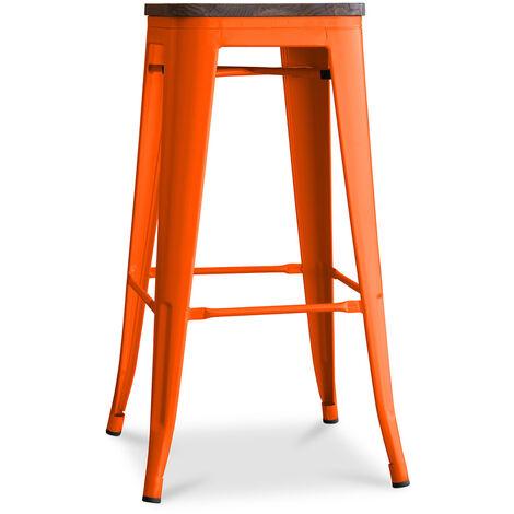Tabouret Tolix en Bois 76cm Pauchard Style - Métal Orange