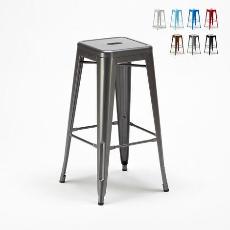 Tabouret Tolix industriel en acier et métal pour bars et cuisines STEEL UP