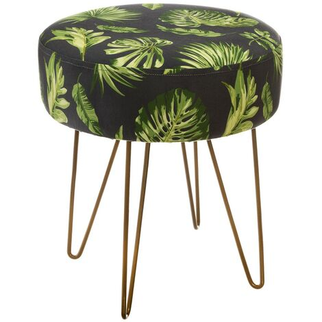 Tabouret velours Colonial jungle - Vert