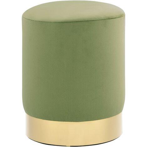 Tabouret Vert moutarde et doré Velours