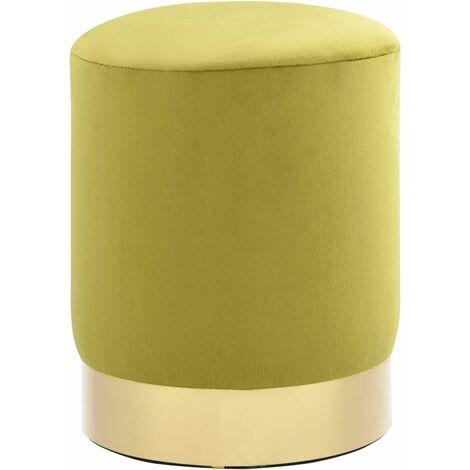 Tabouret Vert moutarde et dore Velours